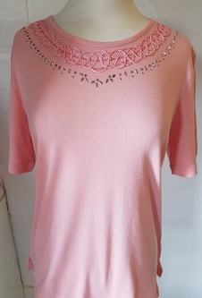 Nicole Lewis Embroidery T-shirt Round Neck - Soft Pink
