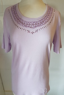 Nicole Lewis Embroidery T-shirt Round Neck - Lilac