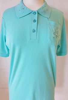 Nicole Lewis Embroidered Polo Collar T-shirt - Aqua
