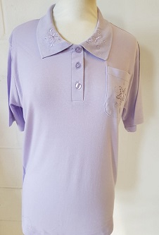Nicole Lewis Embroidered Polo Collar T-shirt - Lilac