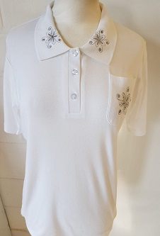 Nicole Lewis Embroidered Polo Collar T-shirt - White