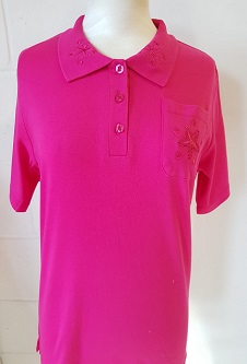 Nicole Lewis Embroidered Polo Collar T-shirt - Cerise