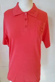 Nicole Lewis Embroidered Polo Collar T-shirt - Coral