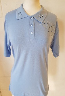 Nicole Lewis Embroidered Polo Collar T-shirt II - Powder Blue