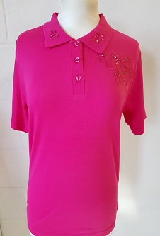 Nicole Lewis Embroidered Polo Collar T-shirt II - Cerise