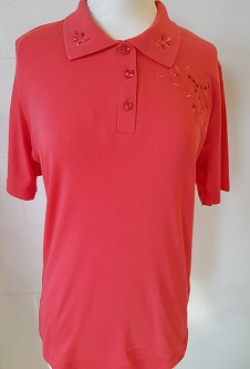 Nicole Lewis Embroidered Polo Collar T-shirt II - Coral