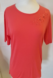 Nicole Lewis Embroidery T-shirt Round Neck II - Coral