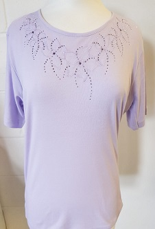 Nicole Lewis Embroidery T-shirt Round Neck III - Lilac