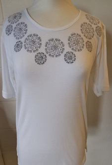 Nicole Lewis Embroidery T-shirt Round Neck IV - White