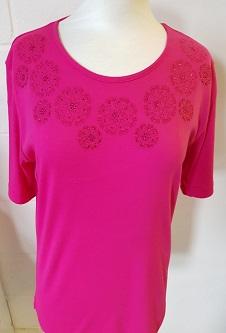 Nicole Lewis Embroidery T-shirt Round Neck IV - Cerise