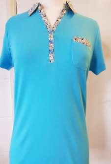 Nicole Lewis Collar T-Shirt Floral Trim - Aqua Blue