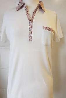 Nicole Lewis Collar T-Shirt Floral Trim - Cream