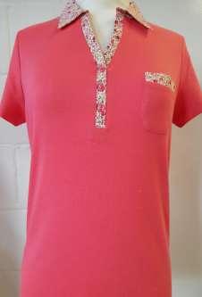 Nicole Lewis Collar T-Shirt Floral Trim - Coral