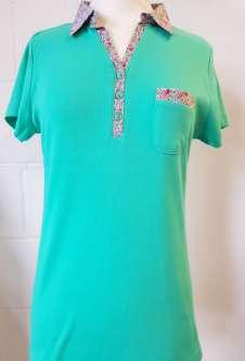 Nicole Lewis Collar T-Shirt Floral Trim - Green