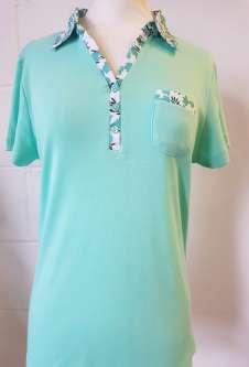 Nicole Lewis Collar T-Shirt Floral Trim - Aqua Green