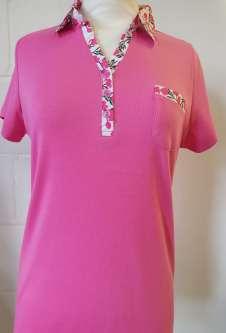 Nicole Lewis Collar T-Shirt Floral Trim - Pink