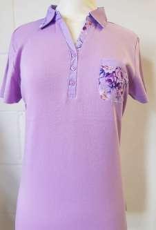 Nicole Lewis Collar T-Shirt Floral Trim - Lilac
