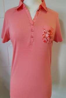 Nicole Lewis Collar T-Shirt Floral Trim - Peach