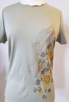 Nicole Lewis Scalloped Neck Embroidered Tshirt - Khaki