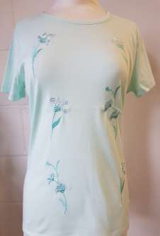 Nicole Lewis Embroidery Round Neck Tshirt - Mint Green