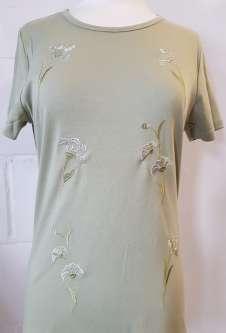 Nicole Lewis Embroidery Round Neck Tshirt - Khaki