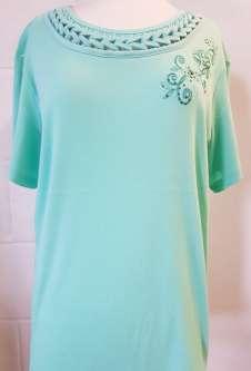Nicole Lewis Embroidery Round Neck Tshirt - Aqua