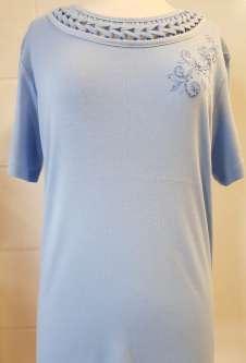 Nicole Lewis Embroidery Round Neck Tshirt - Powder Blue