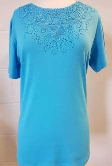 Nicole Lewis Embroidery Round Neck Tshirt - Aqua Blue