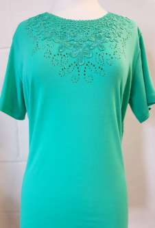 Nicole Lewis Embroidery Round Neck Tshirt - Green