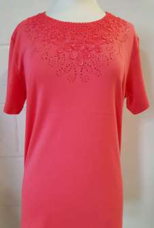 Nicole Lewis Embroidery Round Neck Tshirt - Coral