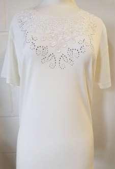 Nicole Lewis Embroidery Round Neck Tshirt - Cream