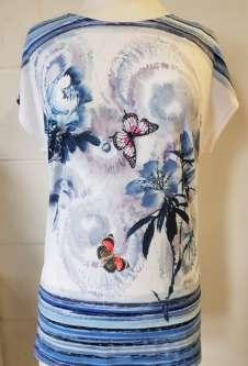 Nicole Lewis Printed Tshirt w/Cap Sleeves - Blue