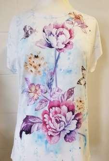 Nicole Lewis Printed Tshirt w/Cap Sleeves - Pink