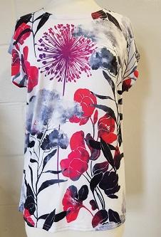 Nicole Lewis Printed Tshirt w/Cap Sleeves - Fuchsia
