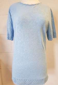 Nicole Lewis Round Neck Jacquard Tshirt - Powder Blue