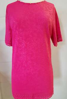 Nicole Lewis Round Neck Jacquard Tshirt - Deep Pink