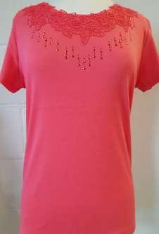 Nicole Lewis Embroidery Round Neck Tshirt II - Coral