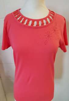 Nicole Lewis Embroidery Round Neck Tshirt V - Coral