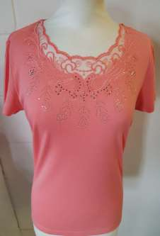 Nicole Lewis Scalloped Neck Tshirt Lace Neck II - Peach