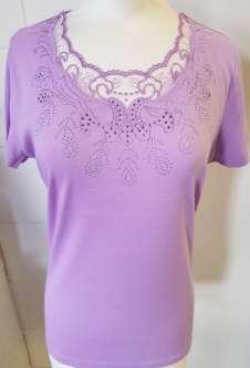 Nicole Lewis Scalloped Neck Tshirt Lace Neck II - Lilac