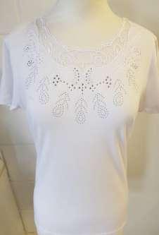 Nicole Lewis Scalloped Neck Tshirt Lace Neck II - White