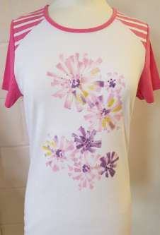 Nicole Lewis Round Neck Flower Print Tshirt - Pink