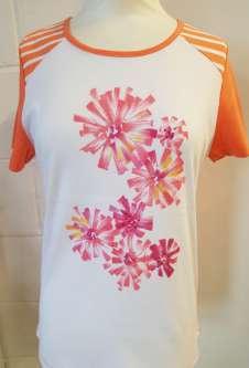Nicole Lewis Round Neck Flower Print Tshirt - Peach