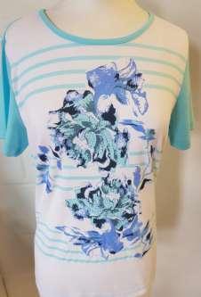 Nicole Lewis Round Neck Tshirt Floral Stripe Tshirt - Aqua