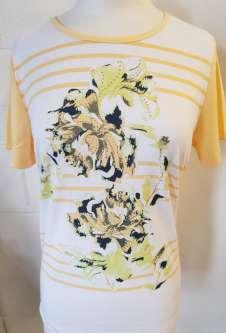 Nicole Lewis Embroidered Tshirt Floral Stripe - Lemon
