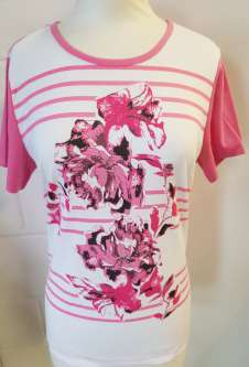 Nicole Lewis Embroidered Tshirt Floral Stripe - Pink