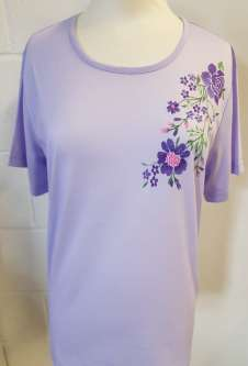 Nicole Lewis Round Neck Floral Embroidery Tshirt - Lilac