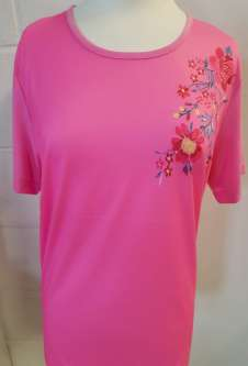 Nicole Lewis Round Neck Floral Embroidery Tshirt - Deep Pink