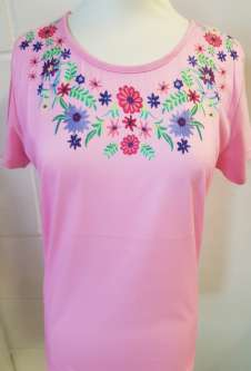 Nicole Lewis Round Neck Floral Embroidery Tshirt - Pink
