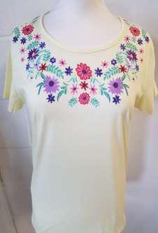 Nicole Lewis Round Neck Floral Embroidery Tshirt - Lemon
